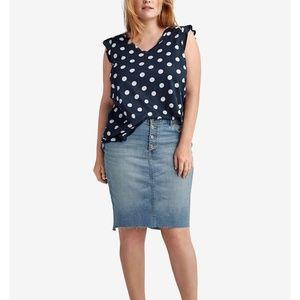 ellos Skirts - Denim skirt. Hem is NOT frayed like pic.